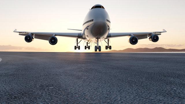 3D airplane landing sunset, concept 3d render for advertising.