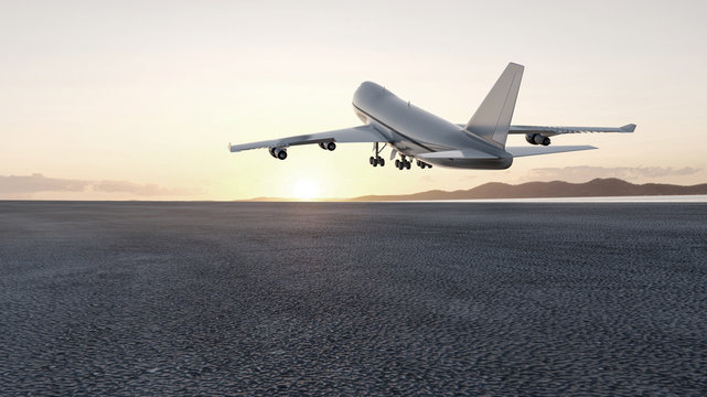 3D plane takes off at sunset, 3d render concept for advertising.