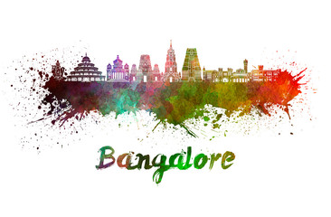 Wall Mural - Bangalore skyline in watercolor