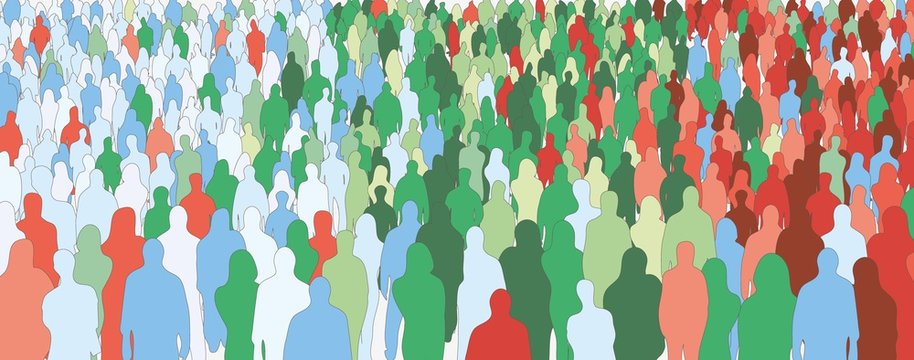 Silhouette of colorful people crowd statistic health seamless pattern vector flat illustration. Different person audience colored horizontal background. Diverse colored human community