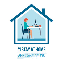 Fotorolgordijn Hoogte schaal I stay at home awareness campaign and coronavirus prevention