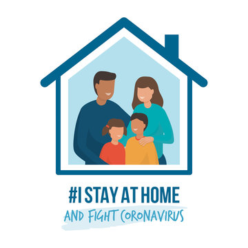 I stay at home awareness campaign and coronavirus prevention