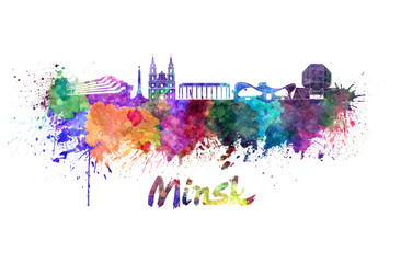 Wall Mural - Minsk skyline in watercolor