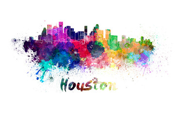 Fotomurales - Houston skyline in watercolor