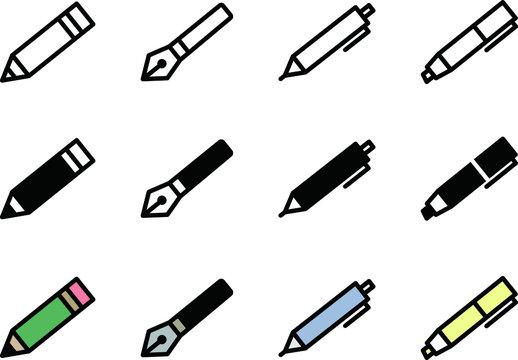 ペンや鉛筆のアイコン/シャーペン/ボールペン/マーカー