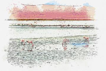 Watercolor drawing picture beautiful landscapes view of Laguna Colorada (Red Lagoon) at Salar de Uyuni, Bolivia.