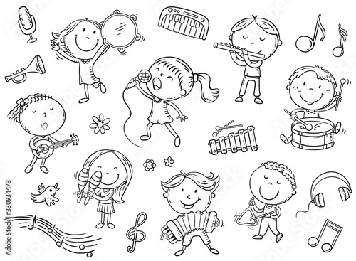 Wall mural Kids with different musical instruments, playing music and singing