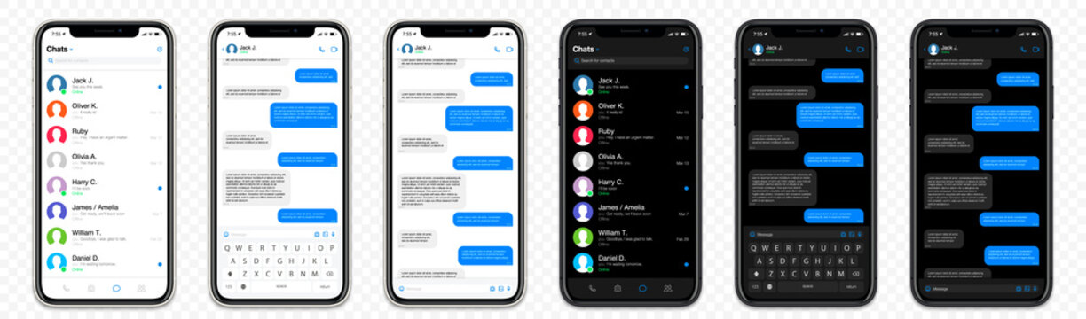 Realistic Mockup app messenger on the screen smartphone in white and black color concept on a transparent background for your design. Social / UI / UX design. Vector illustration.