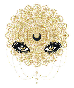 Vector ornamental Lotus flower, all-seeing eye, patterned Indian paisley. Hand drawn illustration in gold. Invitation element. Tattoo, astrology, alchemy, boho and magic symbol.