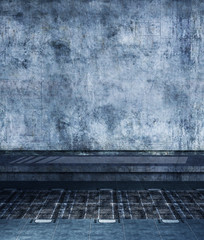 Grunge wall with floor,3d rendering