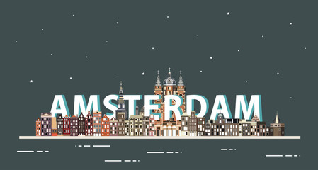 Fototapete - Amsterdam cityscape at night colorful poster. Vector illustration