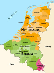 Fototapete - Vector regions map of Benelux countries: Belgium, Netherlands and Luxembourg, with neighbouring countries and territories