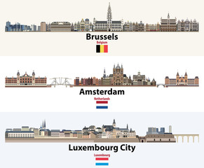 Fototapete - Skylines illustrations of Brussels, Amsterdam, Luxembourg City. Flags of Benelux countries: Belgium, Netherlands, Luxembourg. Vector