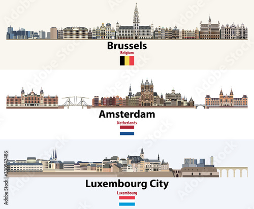 Fototapete Skylines illustrations of Brussels, Amsterdam, Luxembourg City. Flags of Benelux countries: Belgium, Netherlands, Luxembourg. Vector