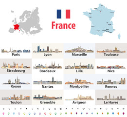 Fototapete - vector map of France with main cities on it. French cities skylines icons. Navigation and location signs set