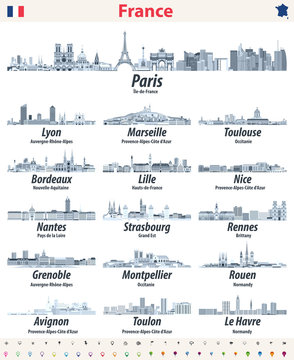 France cities skylines isolated icons in soft blue color palette. Navigation and location signs set. Vector