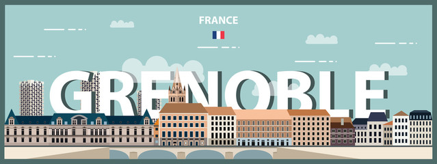 Fototapete - Grenoble cityscape colorful poster. Vector illustration
