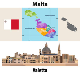 Fototapete - Malta administrative divisions map. Flag of Malta. Flat style cityscape of Valetta. Vector illustration