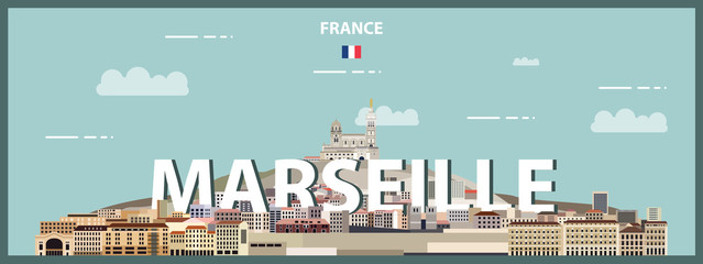 Fototapete - Marseille cityscape colorful poster. Vector detailed illustration