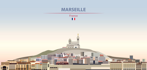 Fototapete - Vector illustration of Marseille city skyline on colorful gradient beautiful daytime background