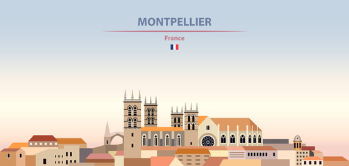 Fototapete - Vector illustration of Montpellier city skyline on colorful gradient beautiful daytime background