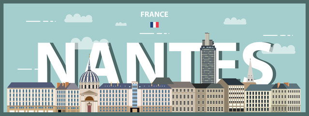 Fototapete - Nantes cityscape colorful poster. Vector detailed illustration
