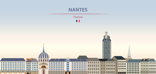 Fototapete - Vector illustration of Nantes city skyline on colorful gradient beautiful daytime background