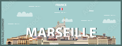 Fototapete Marseille cityscape colorful poster. Vector detailed illustration