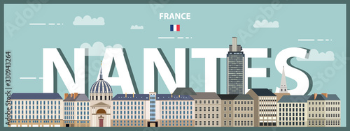Fototapete Nantes cityscape colorful poster. Vector detailed illustration