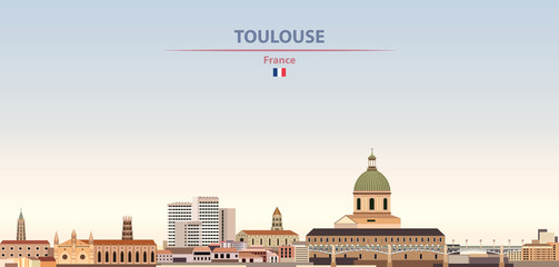 Fototapete - Vector illustration of Toulouse city skyline on colorful gradient beautiful daytime background