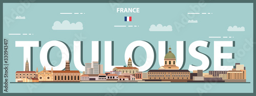 Fototapete Toulouse cityscape colorful poster. Vector detailed illustration