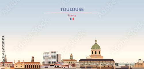 Fototapete Vector illustration of Toulouse city skyline on colorful gradient beautiful daytime background