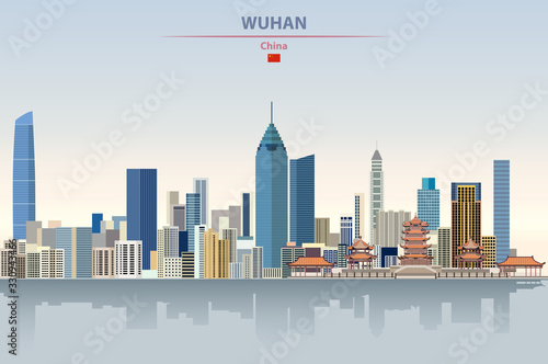 Fototapete Vector illustration of Wuhan city skyline on colorful gradient beautiful daytime background
