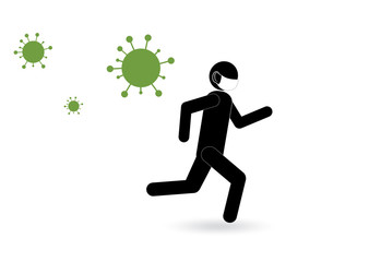 A masked man escapes from viruses. Vector image.