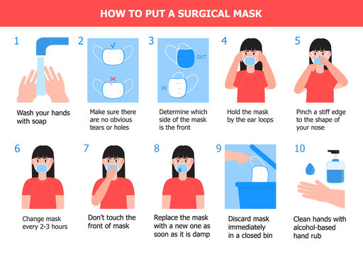 Girl is putting on mask to prevent virus. Illustration of steps, how to wear surgical mask. Instruction vector of cleaning hand