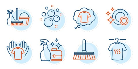 Cleanser spray, Clean bubbles and Clean dishes signs. T-shirt, Household service and Hold t-shirt line icons set. Cleaning mop symbol. Laundry shirt, Cleaning equipment. Cleaning set. Vector