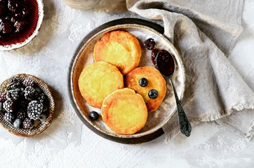 Gluten-free cheese pancakes with blueberries, breakfast