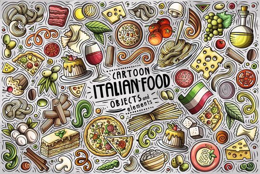 Vector set of Italian food theme items, objects and symbols