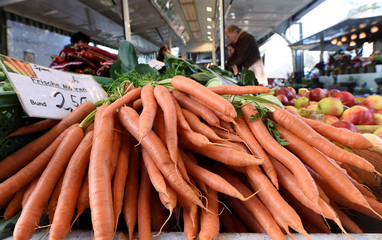 Carrots are offered on a farmer's market during the outbreak of coronavirus disease (COVID-19) in Hamburg
