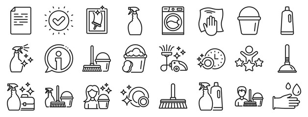 Laundry, Window sponge and Vacuum cleaner icons. Cleaning line icons. Washing machine, Housekeeping service and Maid cleaner equipment. Window cleaning, Wipe off, laundry washing machine. Vector