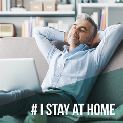 I stay at home social media awareness campaign for coronavirus prevention