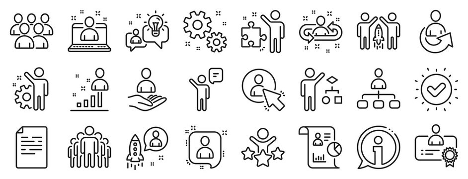 Set of Business audit, Startup strategy and Employee icons. Management line icons. Business strategy, Startup and Teamwork. Organization management, report and group algorithm. Employee job. Vector