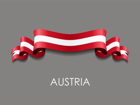 Austrian flag wavy ribbon background. Vector illustration.