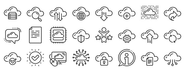 Set of Hosting, Computing data and File storage icons. Cloud data and technology line icons. Archive, Download, Share cloud files. Sync technology, Web server, Storage access. Vector