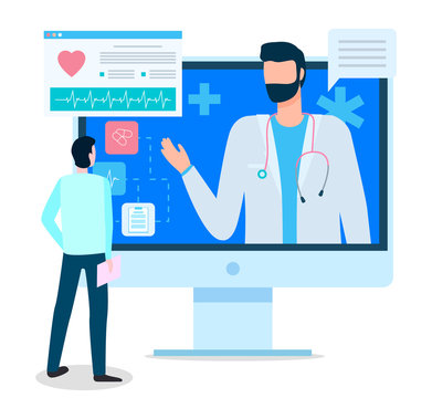 Doctor talking to patient via internet, consultation online. Patient and therapist doc discussing methods of treatment. Modern technologies in clinic or hospital. Healthcare medical services vector
