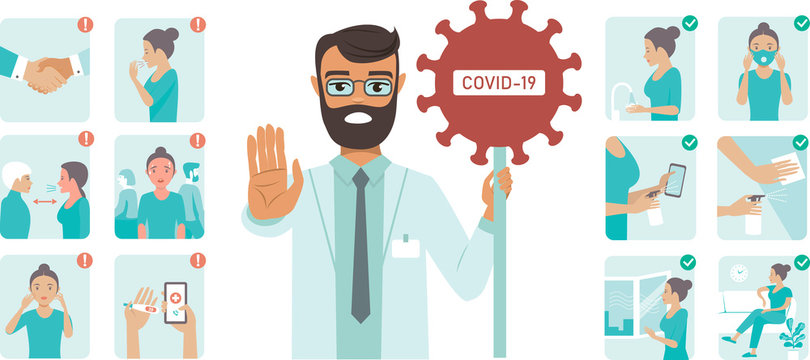 Coronavirus covid-19 protection tips. Doctor character holding STOP sign
