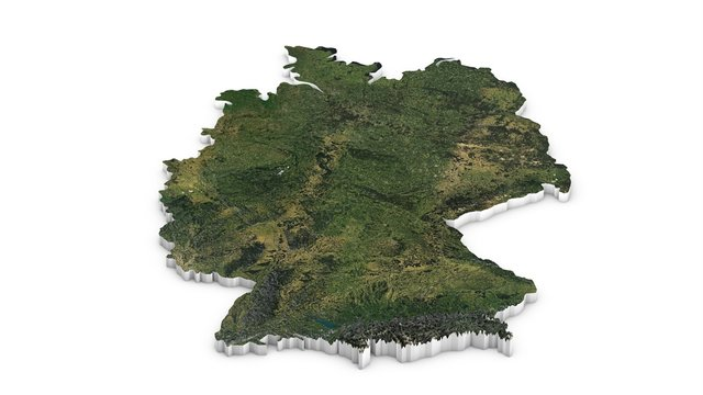 3D map of Germany. Map of Germany land border with flag. Germany map on white background. 3d rendering.