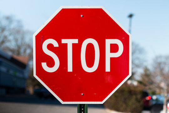 Red stop sign close up