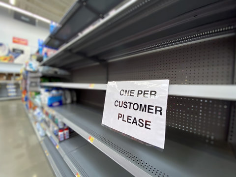 ECONOMY, PA - Circa March, 2020 - A view of empty shelves at a grocery store during the Coronavirus pandemic of 2020.