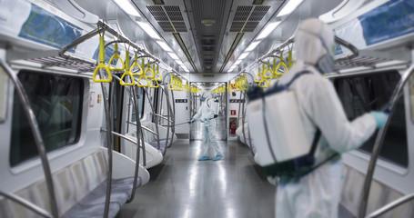 HazMat team in protective suits decontaminating metro car during virus outbreak